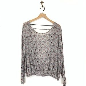 Free People Printed Open Back Together Tee Medium